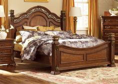 The traditionally styled Messina Estates King Poster Bed from Liberty Furniture is beautifully crafted from select hardwood solids and birch veneers. The scrolled metal accents and antique brass bail hardware perfectly complement the cognac finish. This does not come in Cal-King but could get it custom made.