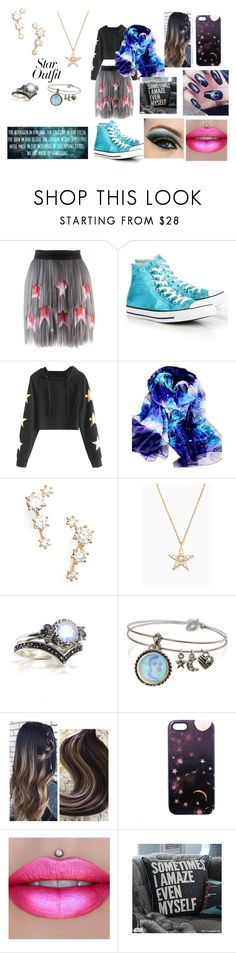 """I am out of this world just like you"" by ocean-goddess ❤ liked on Polyvore featuring Krasimira Stoyneva, Converse, Nadri, Sweet Romance, Nikki Strange, Jeffree Star, PBteen and StarOutfits"