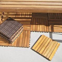Find it at the Foundary - Straight Slat Deck Tiles - Set of 10 - 8 Slat - Eucalyptus$69