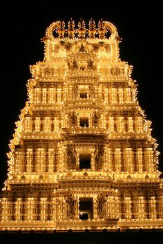 Mysore Palace all lit up 1 by Pondspider, via Flickr
