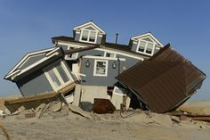 A home destroyed by Hurricane Sandy is seen on April 26, 2013 as it was left by the storm in Mantoloking, N.J. The October 29, 2012, storm moved ashore and caused severe devastation, especially in New Jersey and New York.