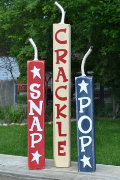 4th of July Decor. Snap! Crackle Pop!  Easy craft for kids.  Memorial day, Fourth of July, Patriotic