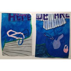 """Here We Are (Poolside 1&2), mm on paper, approx 36""""x48"""", 2014.  #VCCA  (at Virginia Center for the Creative Arts).  Sarah Boyts Yoder"""