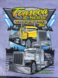 Designed and screenprinted this custom truck design for Fonseca Trucking – Automobile KRM Big Rig Trucks, Dump Trucks, Cool Trucks, Custom Big Rigs, Custom Trucks, Custom Cars, Embroidery Companies, Truck Quotes, Trailers