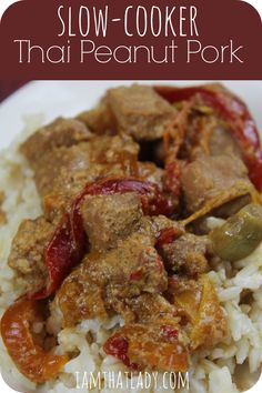 This slow cooker thai peanut pork is so easy and delicious! Used brown sugar instead of honey. You can make a double batch at once, then stick the other half in the freezer for later. If you are looking for an easy slow cooker meal, here is a great one! Slow Cooker Fajitas, Slow Cooker Enchiladas, Slow Cooker Lasagna, Slow Cooker Ribs, Slow Cooker Soup, Slow Cooker Recipes, Crockpot Recipes, Cooking Recipes, Budget Cooking