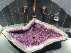 gorgeous raw piece of amethyst turned into a sink. Bathroom Design Ideas: Beautiful Sink Inspiration from Bathroom Bliss by Rotator Rod Lavabo Design, Sink Design, Bath Design, Best Bathroom Designs, Bathroom Ideas, Bathroom Things, Bathrooms Decor, Bathroom Makeovers, Rustic Bathrooms