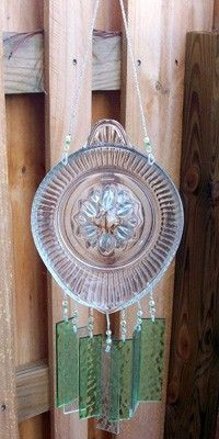 Depression Glass Juicer, Reamer, Upcycled into a Windchime with Green Stained Glass Chimes