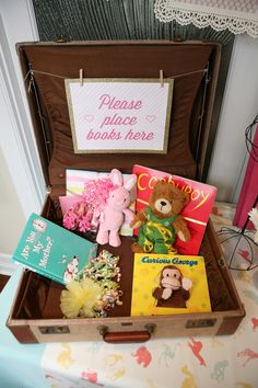 Each guest brings their favorite book for the new baby!   Sip 'n' See Baby Shower   Lovelyfest Event Design