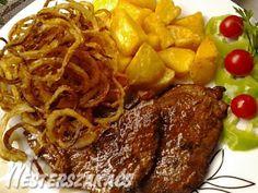 Mustáros, borsos sertésszelet, sült hagymával recept