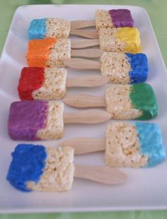 Rice Krispy Paint Brushes ... so easy and these are allergy free