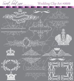 WEIßE Silhouette Kronen Digital Clip Art Krone von MSweetboutique