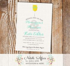 Monograms and Mimosas Bridal Shower Brunch Invitation - perfect for bridal showers, couples showers, wedding brunch, etc.