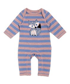 Look at this Lucy & Sam Blue & Lilac Stripe Fox Playsuit - Infant on #zulily today!