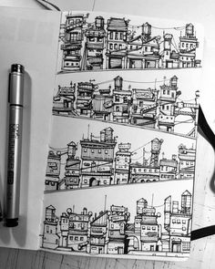 Art sketchbook, sketchbook inspiration, cityscape drawing, cityscape art, a Architecture Drawing Sketchbooks, Art And Architecture, Ancient Architecture, Drawing Sketches, Art Drawings, Town Drawing, Drawing Drawing, House Drawing, Drawing Ideas