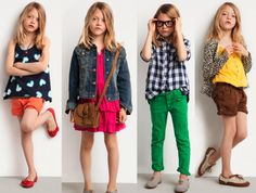 So cute! Totally my girl. Lucas would actually wear that 3rd outfit with the green pants.