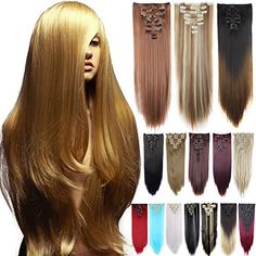 Long Straight Full Head Clip in Hair Extensions Women Lady Hairpiece ** Read more at the image link. (This is an affiliate link) Synthetic Hair Extensions, Clip In Hair Extensions, Vr Camera, Gorgeous Hair, Hair Pieces, Wig Hairstyles, Pakistan, Your Hair, Shopping Service