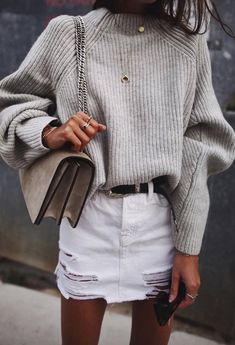 outfit of the day | knit sweater + bag + white skirt
