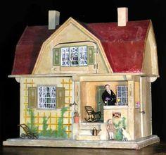Gottschalk 1910, cute small dollhouse, nice soft colors. .....Rick Maccione-Dollhouse Builder www.dollhousemansions.com