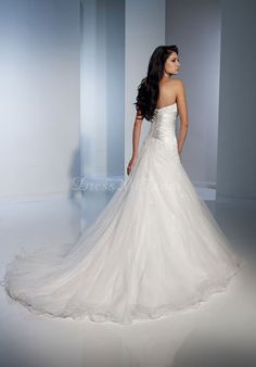 graceful white Tulle A-line lace-up back Wedding Dress - Dress2015.com