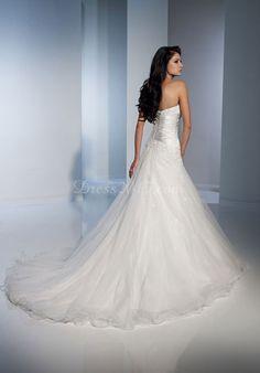 graceful white Tulle A-line lace-up back Wedding Dress - Dress2015.com