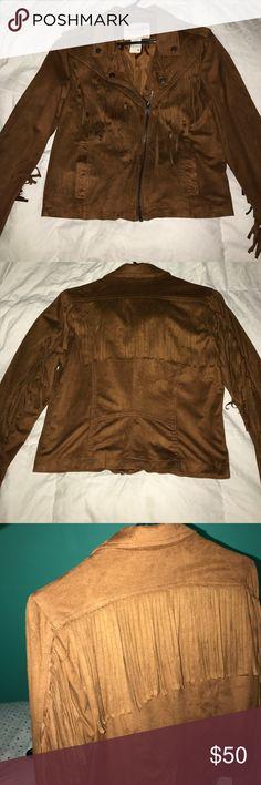 Suede fringe jacket NWOT - American Rag suede fringe jacket American Rag Jackets & Coats Utility Jackets