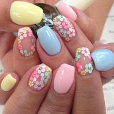 Nails and more Spring Nails - 46 Best Spring Nails for 2018 - Hashtag Nail Art Weather Changes Can D Flower Nail Designs, Nail Designs Spring, Cool Nail Designs, Easter Nail Designs, Spring Design, Kawaii Nail Art, Cute Nail Art, Cute Nails, Pastel Nail Art