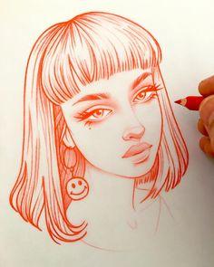 New illustrations, sketches and original art work by Rik Lee — Rik Lee Girl Drawing Sketches, Pencil Art Drawings, Cute Drawings, Art And Illustration, Arte Inspo, Kunst Inspo, Cartoon Kunst, Cartoon Art, Rik Lee