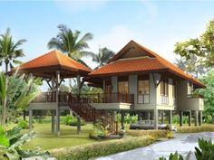 thai style Asian House, Thai House, Tropical House Design, Tropical Houses, Village House Design, Rest House, House On Stilts, Bamboo House, Beach Bungalows