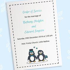 Penguin wedding order of service or programme - The Leaf Press Wedding Programs, Wedding Cards, Wedding Ceremony, Wedding Day, Plan Your Wedding, Wedding Planning, Penguin Wedding, Wedding Order Of Service, Two Brides