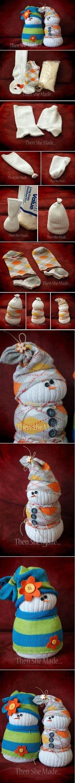 Adorable Sock Snowmen by tiquis-miquis