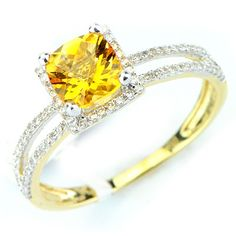 This gorgeous citrine diamond gemstone ring has a 0.68ct checkerboard cut citrine main stone in a prong setting. There are round cut diamonds in prong settings with a total weight of 0.21cts. The color and clarity are H/I and I1/I2 respectively. $296.00
