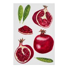 Shop Pomegranate Fruity Watercolor Art Poster created by ShoshannahScribbles. Side Profile Woman, Fall Fruits, Fruit Painting, Corner Designs, Custom Posters, Pomegranate, Custom Framing, Watercolor Paintings, Cool Art