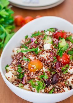 Greek Chicken Red Quinoa Salad Recipe ~ This salad is loaded with so many other goodies, chicken, feta cheese, Kalamata olives, tomatoes, cucumbers, red onion and one simple yet amazingly delicious dressing
