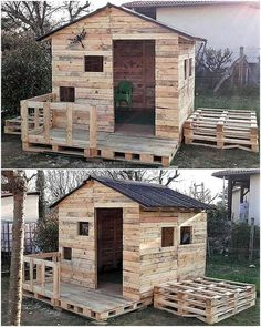 20 Amazing Plans for Wood Pallets Repurposing Here& Another Great . - 20 Amazing Plans for Wood Pallets Repurposing Here& Another Great … – # great - Pallet Playhouse, Pallet Shed, Build A Playhouse, Garden Pallet, Diy Furniture Decor, Backyard Furniture, Pallet Furniture, Furniture Plans, Kids Furniture
