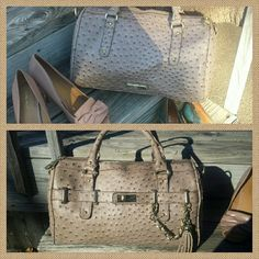Steve Madden faux Gator Handbag with Tassel Originally from T.J. Maxx. Beige with yellow gold tone hardware. Not new but in great shape. Inside pocket for cell phone and etc. Inside lining okay. There's an ink spot inside but otherwise no rips, tears or stains. Cute bag for the $$. Check my closet for lining and hardware photos. Steve Madden Bags