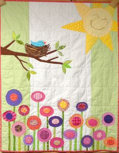 Baby quilt wall hanging bird in nest sun by moonspiritstudios