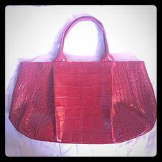 "Red leather Furla ""Istanbul"" Handbag Red embossed leather Furla ""Istanbul"" Handbag, barely used. No visible wear.  Includes shoulder strap. Furla Bags Satchels"