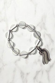 Worn Silver Circle Tassel Expander Bracelet from Next