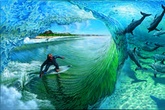 Phil Roberts Art. philroberts.com  Painting for the '08 Billabong Pro Surf Contest at Jay Bay by Phil Roberts Framed Glicee Fine Art Print Available 32″ x 48″