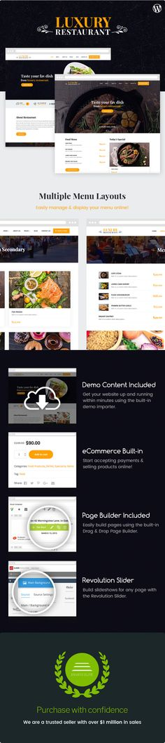 Luxury - Restaurant & Cafe Theme #wine #winery #woocommerce • Download ➝ https://themeforest.net/item/luxury-restaurant-cafe-theme/19147476?ref=pxcr