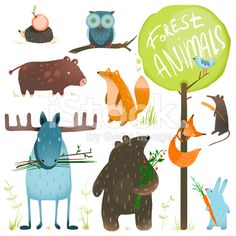 Cartoon Forest Animals Set royalty-free 스톡 벡터 아트