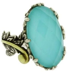 Barbara Bixby 18K Yellow Gold and 925 Sterling Silver with Turquoise Doublet Ring Size 6