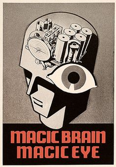 Wouldn't you want to buy a product that had a magic brain AND a magic eye? Poster advertising RCA Victor radios, detail, 1937. John Vassos papers, Archives of American Art, Smithsonian Institution.