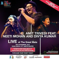#Performing live at #ZeeTheGreatMela with #AmitTrivedi, #NeetiMohan and #DivyaKumar! Come #experience the #spectacle this #November 26th at @dubaimediacity #Amphitheatre! Purchase your #earlybird #tickets at bit.ly/TGMTickets  #lifeisamela and #itallhappensinbetween . . . #dubai #uae #party #thursdays #instamusic #liveperformance #concert #concerts #mydubai #india #bollywoodmusic #bollywood #musicians #instamusic #songs #hindimusic #hindisongs