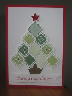 handmade card: Mosaic Madness Christmas Tree by Rach W ... cute tree made from the tiles stamped in greens and punched out ... luv the way the tiles fit together to form the tree ...
