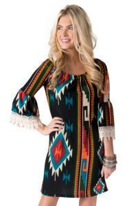 R. Rouge Women's Black with Multicolor Navajo Print 3/4 Bell Sleeves Dress- Plus Sizes | Cavender's