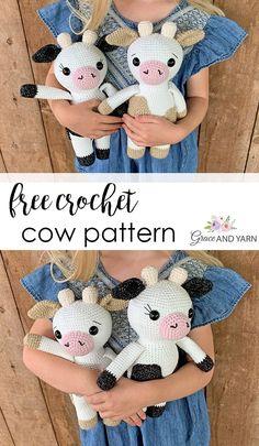Free Crochet Cow Pattern - Grace and Yarn