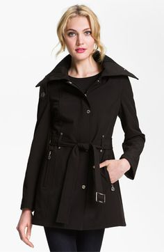 Calvin Klein Knit Collar Belted Coat available at #Nordstrom