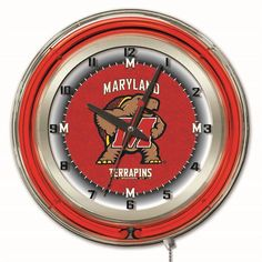 """Maryland Terrapins 19"""" Neon Wall Clock"""