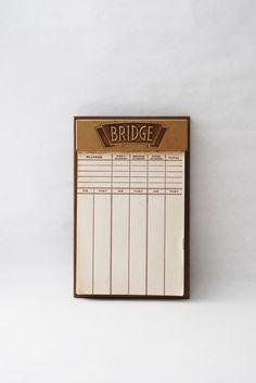Vintage Bridge Score Pad - Bridge Score Keeper, Card Game Paper, 1960s